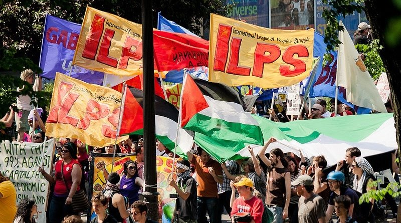 ILPS contingent in the anti-NATO protests in Chicago. Photo from lfssfsu.files.wordpress.com