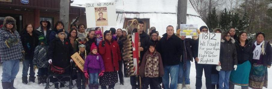 First Nations people in action to affirm their rights on the Wikwemikong Unceded Indian Reserve,  Manitoulin Island, ON, December 30, 2012.